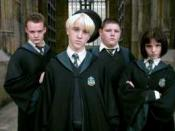 Left to right: Goyle, Malfoy, Crabbe, and Pansy Parkinson
