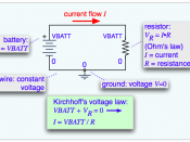 English: A simple schematic diagram with a battery and a resistor, showing the use of Ohm's law and Kirchhoff's voltage law to find the current.