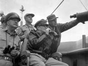 English: Brig. Gen. Courtney Whitney; Gen. Douglas MacArthur, Commander in Chief of U.N. Forces; and Maj. Gen. Edward M. Almond observe the shelling of Inchon from the U.S.S. Mt. McKinley, September 15, 1950. Nutter (Army) NARA FILE #: 111-SC-348438 U.S.
