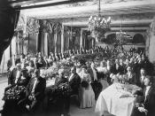 Complimentary dinner tendered by Sir John Eaton, King Edward Hotel. (Related to the golden jubilee of the Eaton's department store chain?) John Craig Eaton is seated at the table to the left, closest to the photographer.