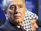 "English: Original caption from the World Economic Forum: ""DAVOS/SWITZERLAND,28JAN01 - Minister of Regional Cooperation of Israel Shimon Peres (L) and President of the Palestinian Authority Yasser Arafat (R) attend a session entitled 'From Peacemaking to P"