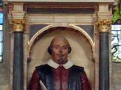 Shakespeare's funerary monument, Holy Trinity Church, Stratford Upon Avon, England