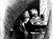 Dickens at the Blacking Warehouse. Charles Dickens is here shown as a boy of twelve years of age, working in a factory.