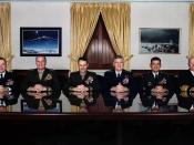 The United States Joint Chiefs of Staff 2002: from left to right: John P. Jumper, James L. Jones, Peter Pace, Richard B. Myers, Eric K. Shinseki und Vern Clark.