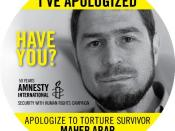 English: Maher Arar campaign button for the Security With Human Rights campaign of Amnesty International, USA.