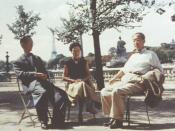 Screenwriter Yoshikata Yoda, Actress-Director Kinuyo Tanaka, and Director Kenji Mizoguchi visit Paris, 1953
