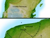 English: This shaded relief image of Mexico's Yucatan Peninsula show a subtle, but unmistakable, indication of the Chicxulub impact crater. Most scientists now agree that this impact was the cause of the Cretatious-Tertiary Extinction, the event 65 millio