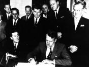 Ian Smith signing the Unilateral Declaration of Independence on 11 November 1965 with his cabinet watching