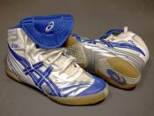 A pair of match-worn ASICS wrestling shoes, model Split Second V.