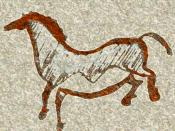 Español: Ejemplo genérico de caballo pintado paleolítico según las características típicas del estilo III de Leroi-Gourhan: obsérvese la microcefalia y el vientre abombado típicos de este periodo