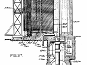 English: Vertical sectional view (partly in elevation) of a liquid cooled reactor from