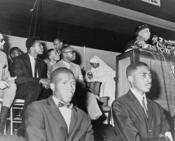Elijah Muhammad addresses followers including Cassius Clay / World Telegram & Sun photo by Stanley Wolfson.