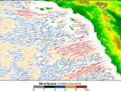 QuikSCAT image of the Santa Ana Winds, showing wind speed (m/sec). The image shows strong winds blowing offshore all along the Southern California coast. The fastest winds are indicated in red, with orange, blue, black, and gray representing progressively