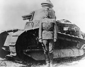 Lieut. Col. George S. Patton, Jr., 1st Tank Battalion, and a French Renault tank, summer 1918.
