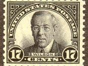 English: US Postage stamp: Woodrow Wilson, Issue of 1925, 17c
