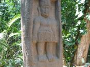 Stele 1, La Venta Park, Villahermosa, Mexico. This monument represents a woman (something rare in olmec art) placed in a niche.