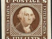 English: Washington 5-cent stamp essay, 1869
