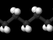 Ball-and-stick model of the heptadecane molecule, an unbranched alkane with 17 carbon atoms.