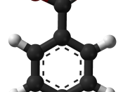 Ball and stick model of the benzoic acid molecule.