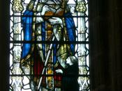 English: Chester ( England ). Cathedral: Refectory - Eastern window ( 1916 ): Saint Anselm of Canterbury ( detail ) Deutsch: Chester ( England ). Kathedrale: Refektorium - Ostfenster ( 1916 ): Heiliger Anselm von Canterbury ( Detail )