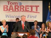 .Milwaukee Mayor Tom Barrett at primary election night victory party in Milwaukee