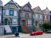 These Victorian rowhouses are in the Haight-Ashbury neighborhood of San Francisco, California