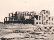 Ruins of the Longfellow School, Murphysboro, Illinois, where 17 children were killed. The storm hit the school at about 2:30 p.m.