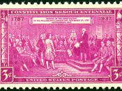 English: US Postage Stamp depicting delegates at the signing of the US Constitution.