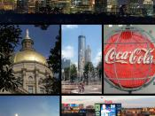 Montage of Atlanta images. From top to bottom left to right: Atlanta skyline Georgia State Capitol Olympic Centennial Park Old World of Coca-Cola museum Downtown skyline Turner Field