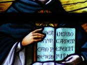 English: Saint Thomas Aquinas (1225-1274) stained glass window. Cathedral of Saint-Rombouts, Mechelen (Belgium). In the book an extract of St. Thomas's hymn Pange lingua (