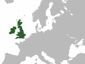 A map highlighting the (former) United Kingdom of Great Britain and Ireland within Europe.