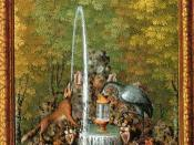 English: A Fountain : 'The fox and the Crane' from Jacques Bailly's Le Labyrinthe de Versailles illustrating the Aesop's fable The Fox and the Stork.