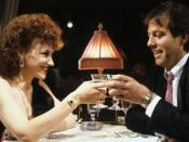 Angie and Den have dinner together on the Orient Express (1986).