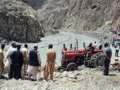 Landslides block the road (Karakoram Highway) frequently for several hours or even days. Taken in July 2001 by Gert Wrigge & Anton Oettl.