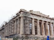 English: Parthenon on a rainy day on the Acropolis of Athens, Greece.