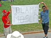 Formula One Fans at the controversial 2005 United States Grand Prix holding a banner with the words