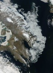 The Barnes Ice Cap, containing remnants of the Laurentide Ice Sheet.