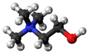 Ball-and-stick model of the choline cation, a water-soluble essential nutrient. The nitrogen atom has a positive charge. Colour code (click to show) : Black: Carbon, C : White: Hydrogen, H : Red: Oxygen, O : Blue: Nitrogen, N