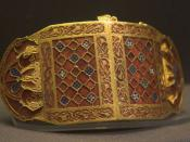 Shoulder clasp (closed) from the Sutton Hoo ship-burial 1, England. British Museum.