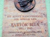 Béla Bartók memorial plaque in Baja, Hungary