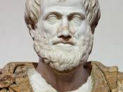 Bust of Aristotle. Marble, Roman copy after a Greek bronze original by Lysippos from 330 BC; the alabaster mantle is a modern addition.