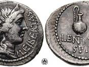 Denarius (42 BC) issued by Cassius Longinus and Lentulus Spinther, depicting the crowned head of Libertas, with a sacrificial jug and lituus on the reverse