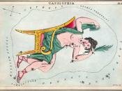 Cassiopeia in her chair, as depicted in Urania's Mirror, a set of constellation cards published in London c.1825.