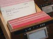 English: Sample catalog card in the card catalog for Radio Sweden's archive of recorded broadcasts, still in active use in 2005. This card documents a radio lecture by Per Stolpe, broadcast on January 10, 1934.