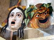 Theatrical masks of Tragedy and Comedy. Mosaic, Roman artwork, 2nd century CE.