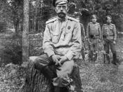 One of the last photographs taken of Nicholas II, showing him at Tsarskoye Selo after his abdication in March 1917