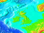 The British Isles in relation to the north-west European continental shelf.