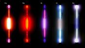Spectrum = gas discharge tubes: the noble gases: helium He, neon Ne, argon Ar, krypton Kr, xenon Xe. Used with 1,8kV, 18mA, 35kHz. ≈8