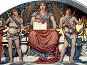 English: Detail from Government. Mural by Elihu Vedder. Lobby to Main Reading Room, Library of Congress Thomas Jefferson Building, Washington, D.C. Main figure is seated atop a pedestal saying