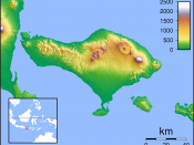 Location map for Bali. Created with GMT from SRTM data. Left: 114.25, Right: 116, Top:-7.75, Bottom:-9.1666666